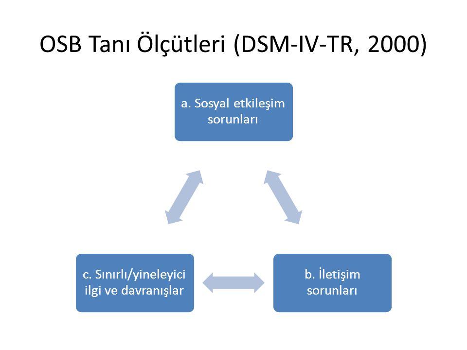 OSB Tanı Ölçütleri (DSM-IV-TR, 2000)
