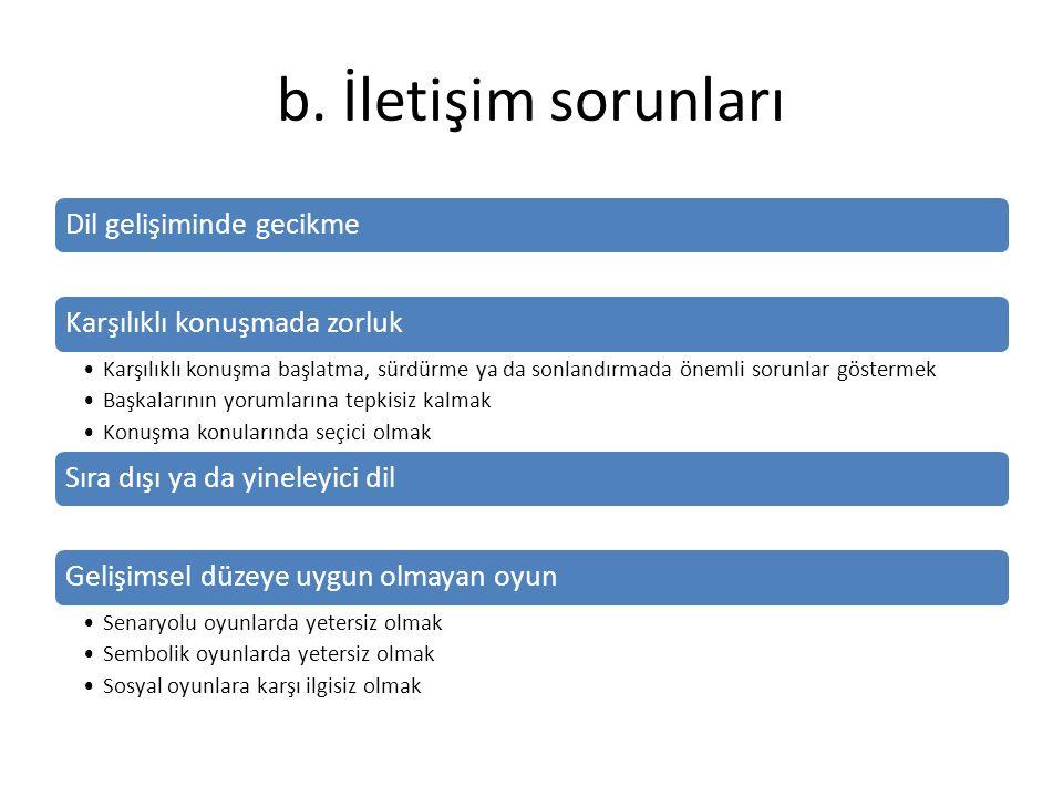 b. İletişim sorunları Dil gelişiminde gecikme