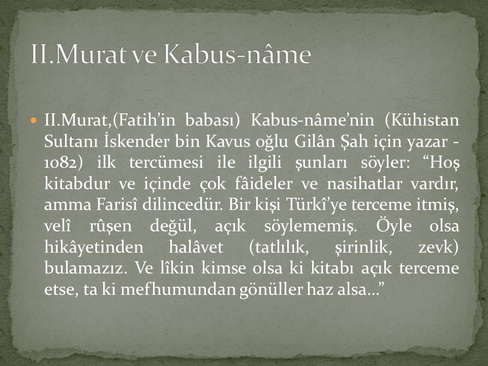 II.Murat ve Kabus-nâme