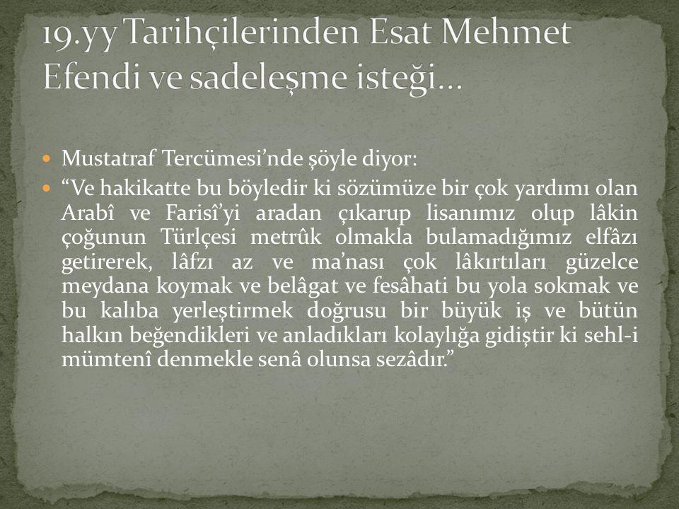 19.yy Tarihçilerinden Esat Mehmet Efendi ve sadeleşme isteği…