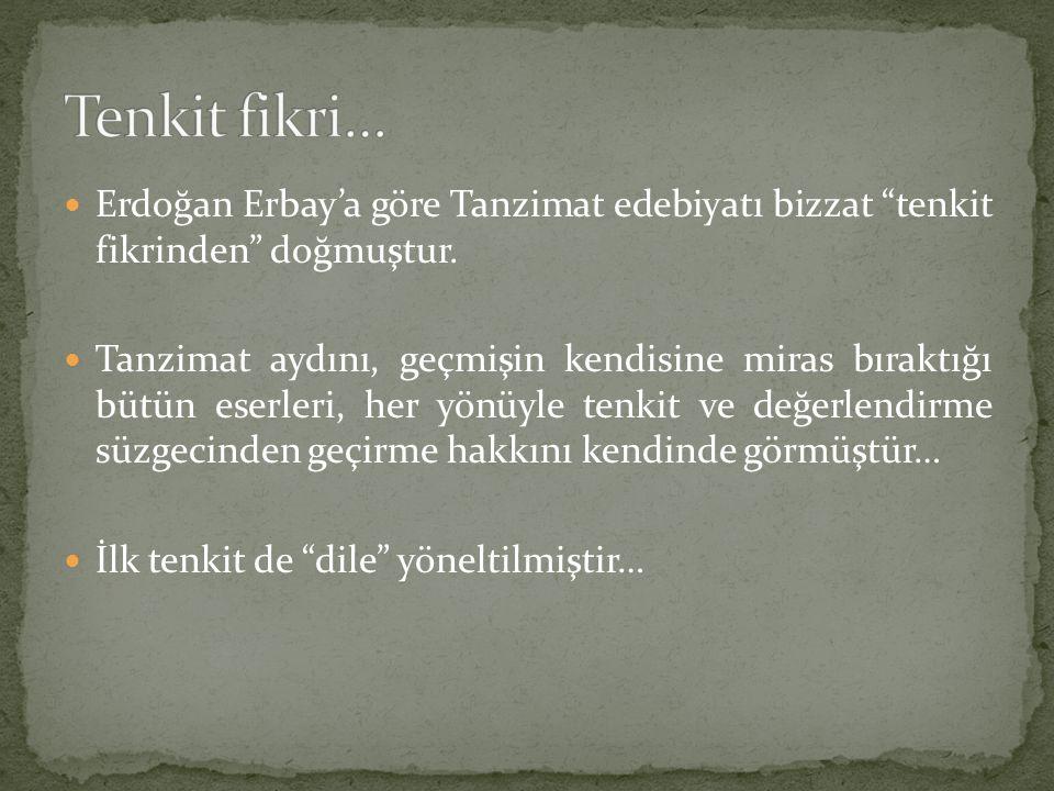 Tenkit fikri… Erdoğan Erbay'a göre Tanzimat edebiyatı bizzat tenkit fikrinden doğmuştur.