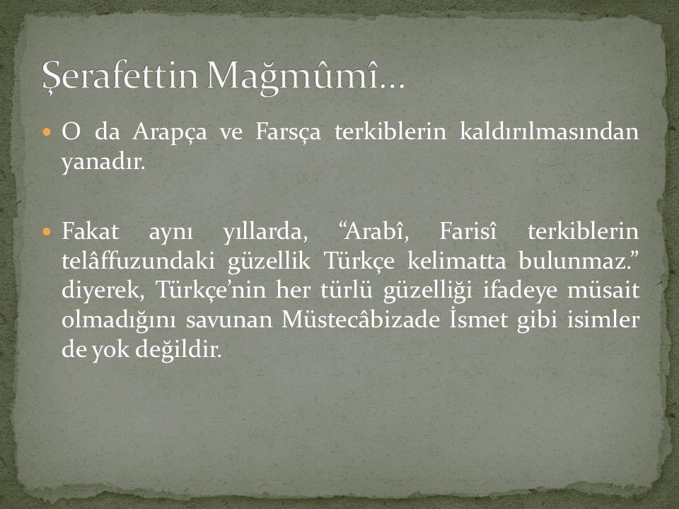 Şerafettin Mağmûmî… O da Arapça ve Farsça terkiblerin kaldırılmasından yanadır.