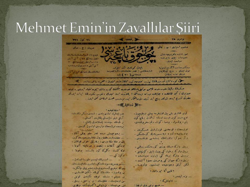 Mehmet Emin'in Zavallılar Şiiri