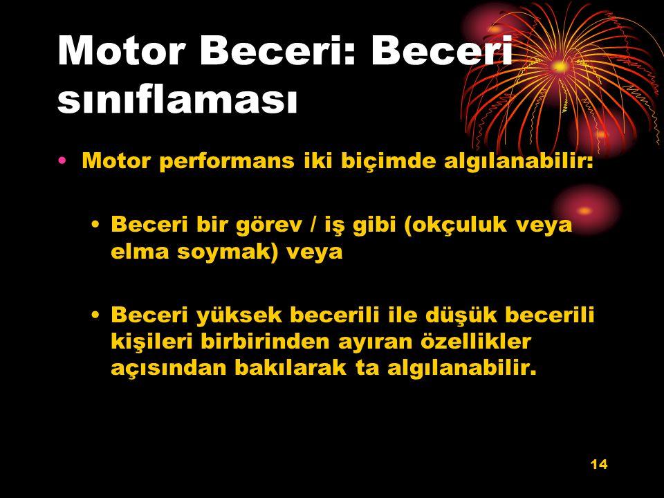 Motor Beceri: Beceri sınıflaması