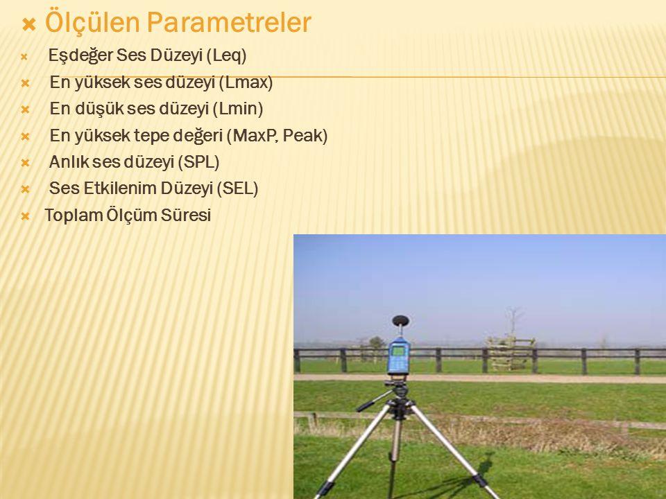 Ölçülen Parametreler En yüksek ses düzeyi (Lmax)