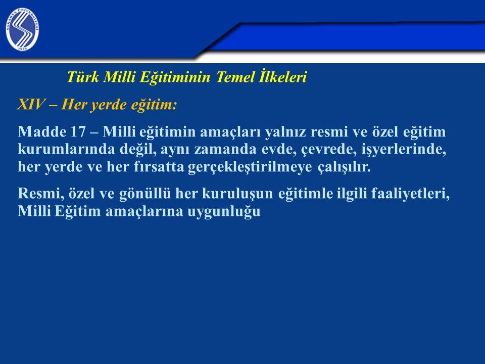 Türk Milli Eğitiminin Temel İlkeleri XIV – Her yerde eğitim: