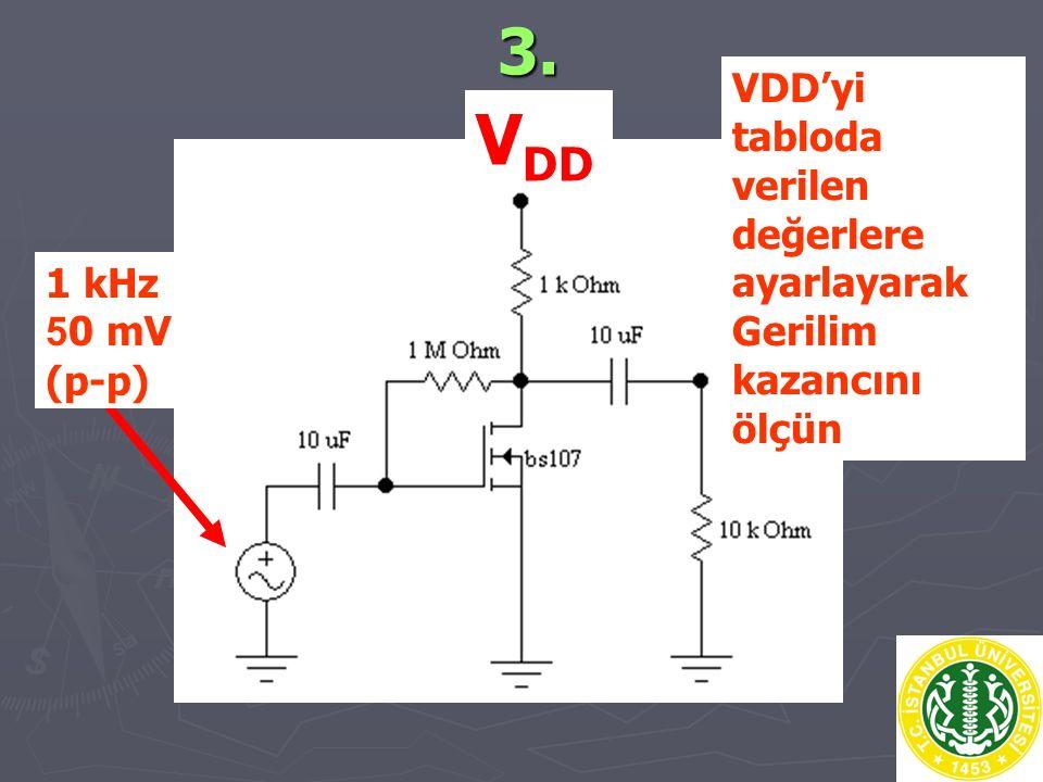 VDD 3. VDD'yi tabloda verilen değerlere ayarlayarak