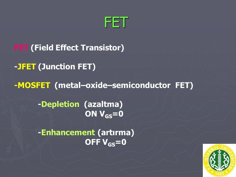 FET FET (Field Effect Transistor) -JFET (Junction FET)