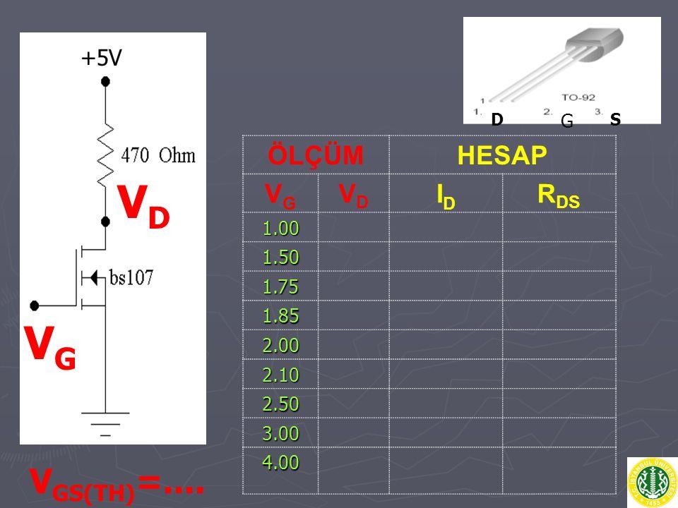 VD VG VGS(TH)=.... ÖLÇÜM HESAP VG VD ID RDS +5V 1.00 G 1.50 1.75 1.85