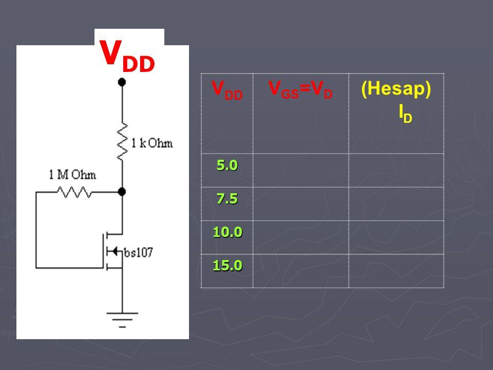 VDD VDD VGS=VD (Hesap) ID 5.0 7.5 10.0 15.0