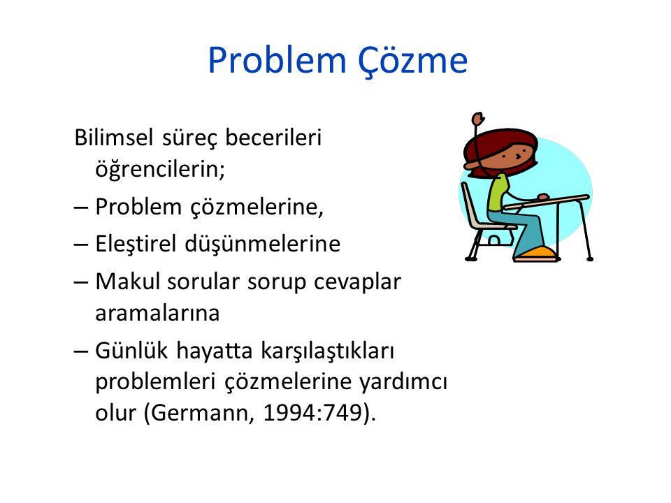 Problem Çözme Bilimsel süreç becerileri öğrencilerin;