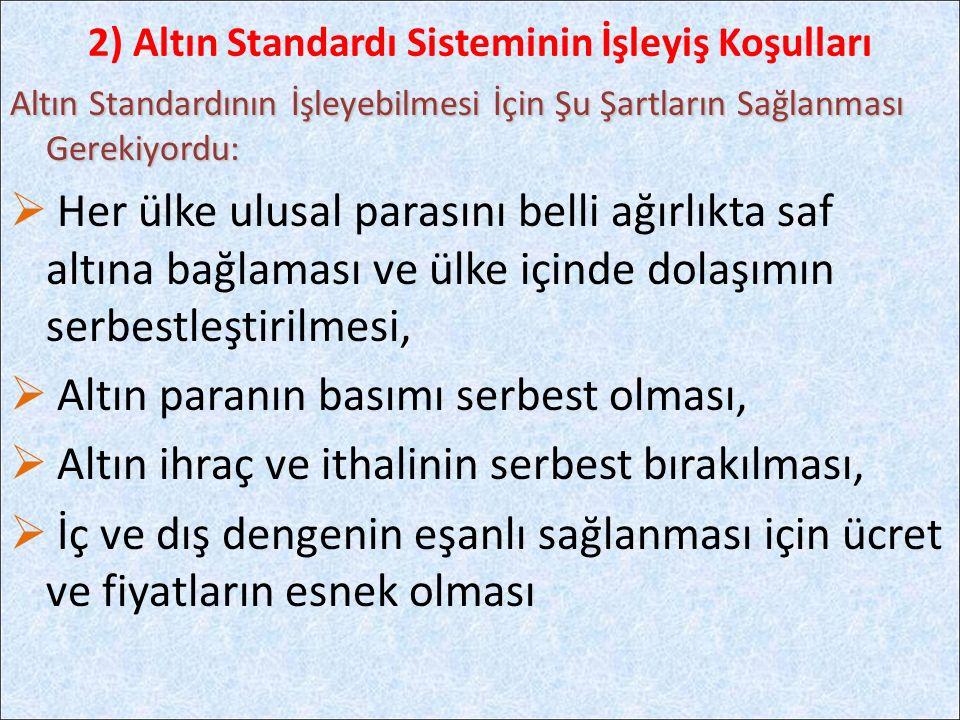 2) Altın Standardı Sisteminin İşleyiş Koşulları