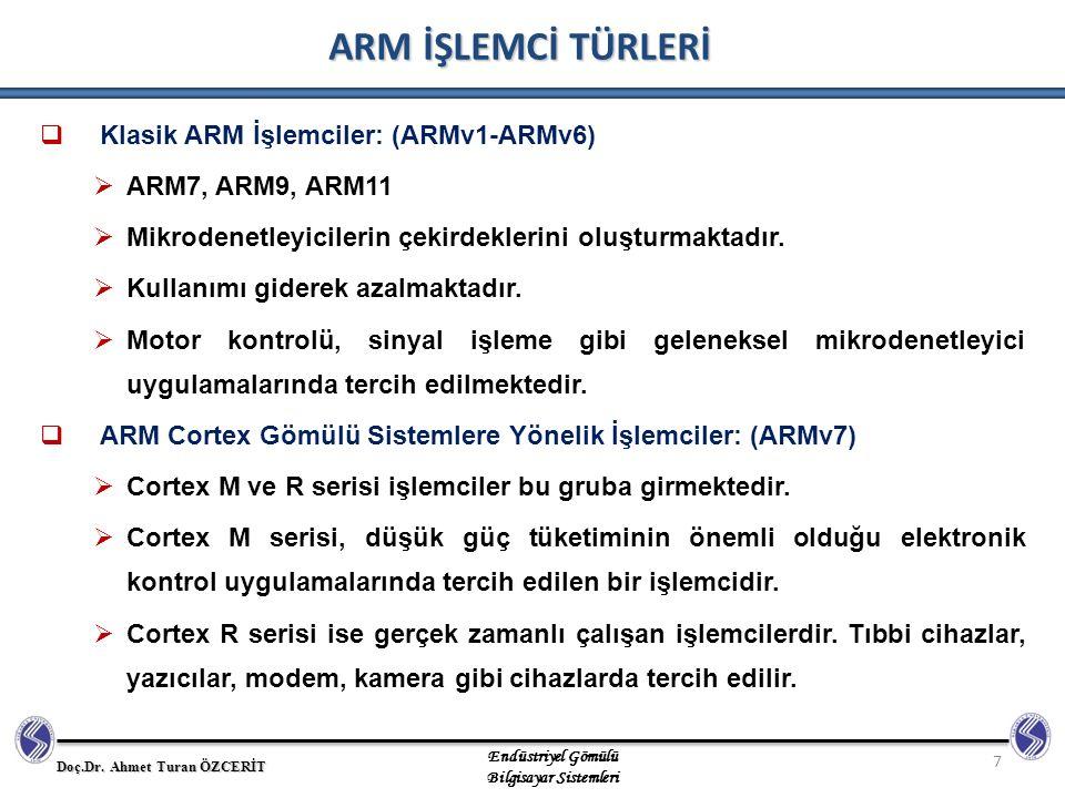 ARM İŞLEMCİ TÜRLERİ Klasik ARM İşlemciler: (ARMv1-ARMv6)