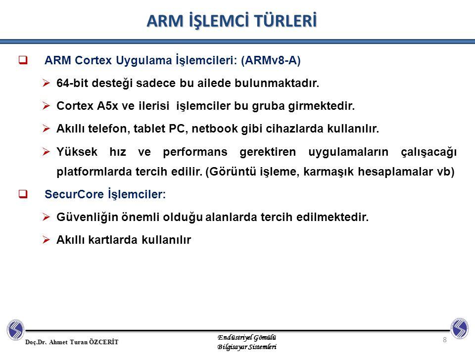 ARM İŞLEMCİ TÜRLERİ ARM Cortex Uygulama İşlemcileri: (ARMv8-A)