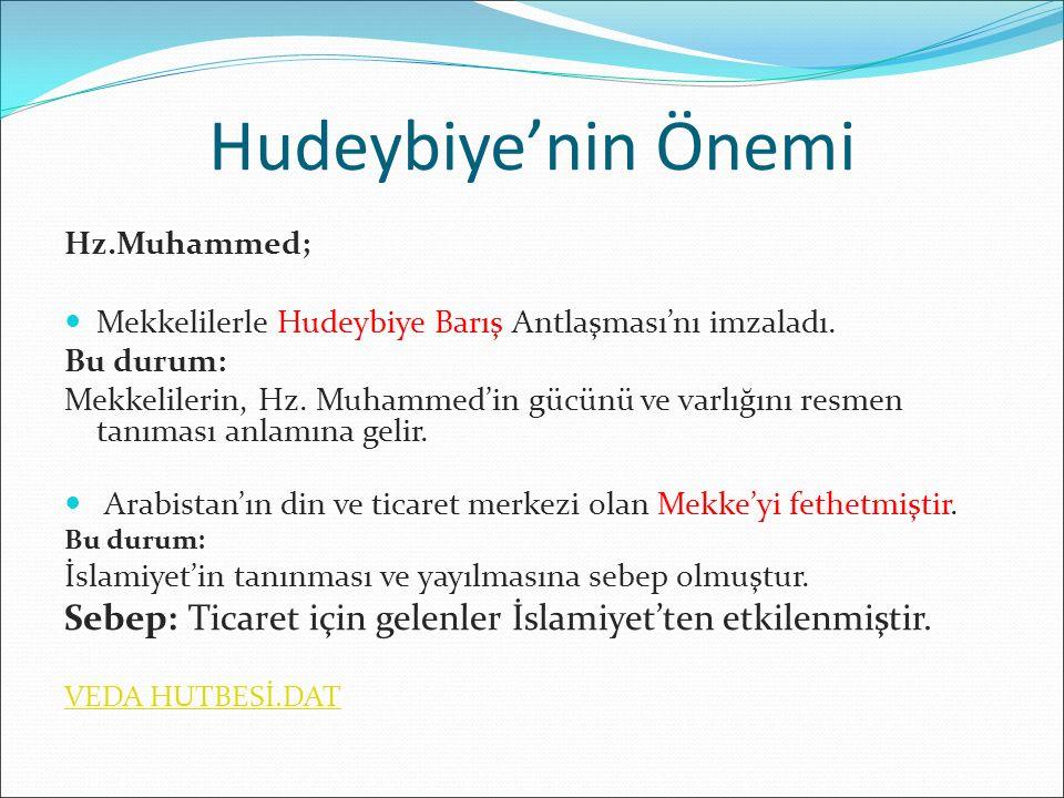 Hudeybiye'nin Önemi Hz.Muhammed; Mekkelilerle Hudeybiye Barış Antlaşması'nı imzaladı. Bu durum: