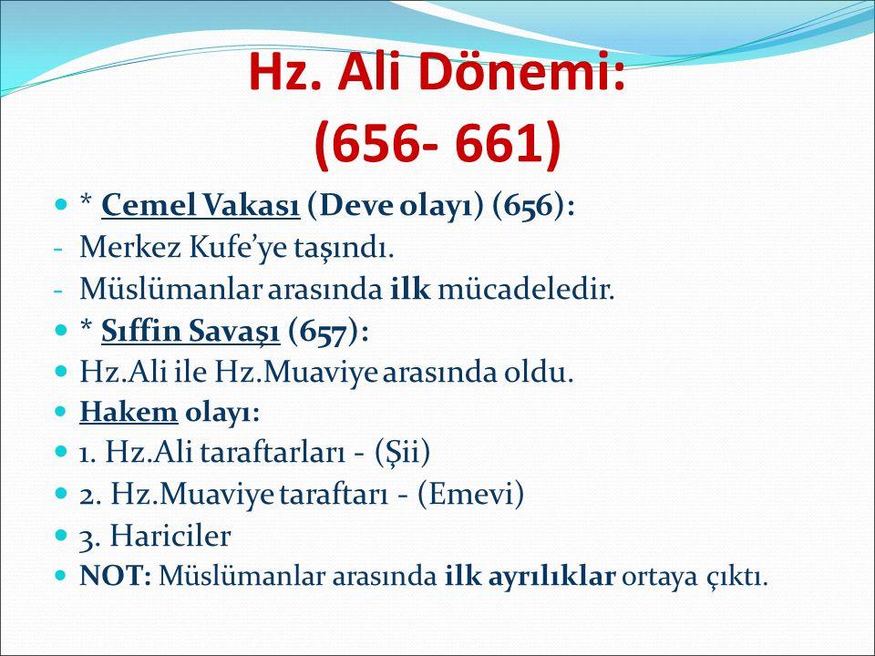 Hz. Ali Dönemi: (656- 661) * Cemel Vakası (Deve olayı) (656):