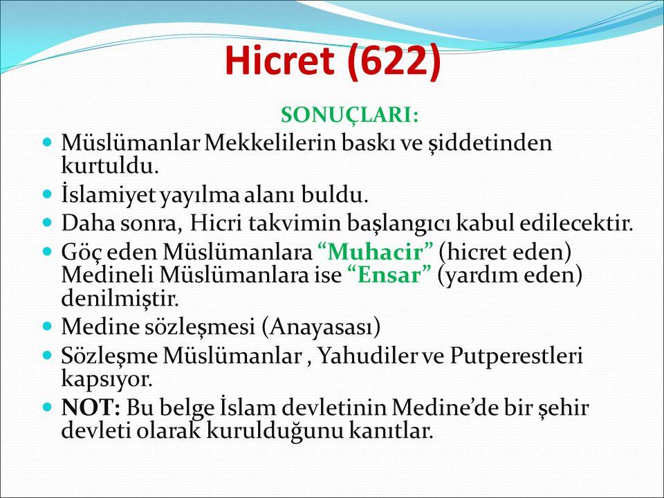 Hicret (622) Müslümanlar Mekkelilerin baskı ve şiddetinden kurtuldu.