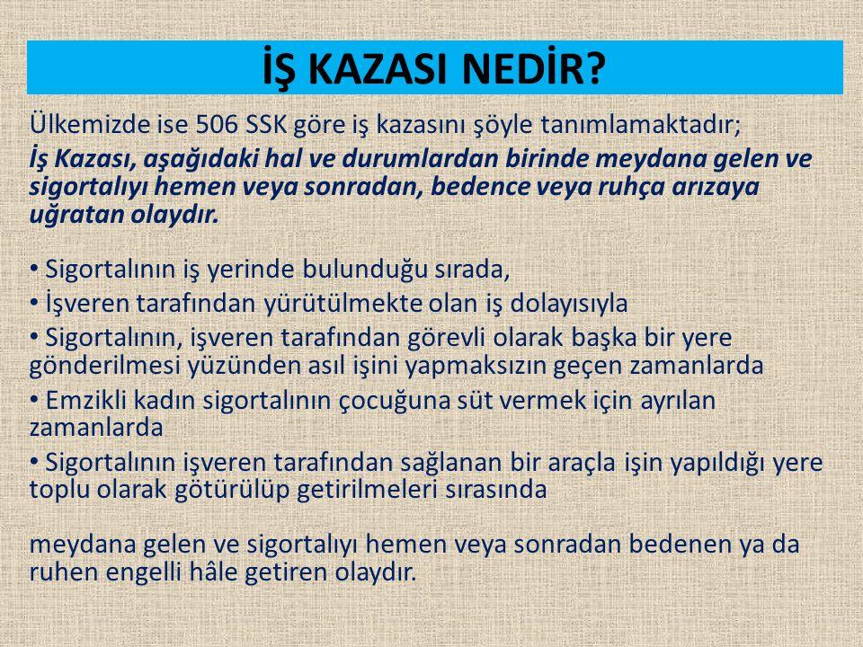 İŞ KAZASI NEDİR Ülkemizde ise 506 SSK göre iş kazasını şöyle tanımlamaktadır;
