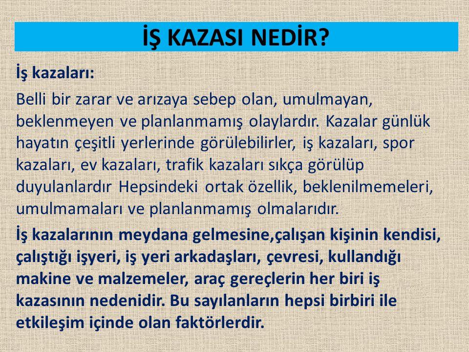 İŞ KAZASI NEDİR İş kazaları: