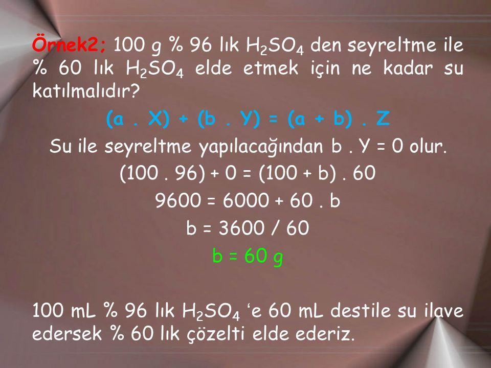 Su ile seyreltme yapılacağından b . Y = 0 olur.