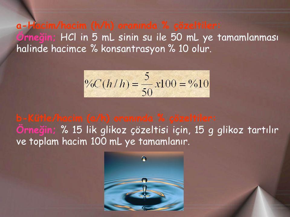a-Hacim/hacim (h/h) oranında % çözeltiler:
