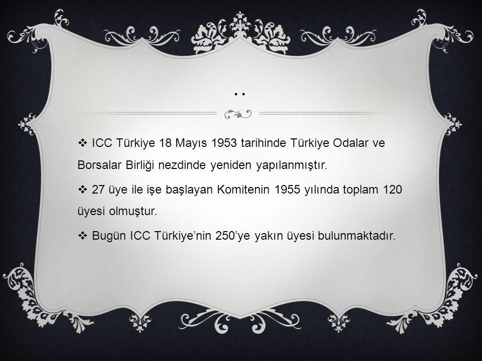 .. ICC Türkiye 18 Mayıs 1953 tarihinde Türkiye Odalar ve Borsalar Birliği nezdinde yeniden yapılanmıştır.