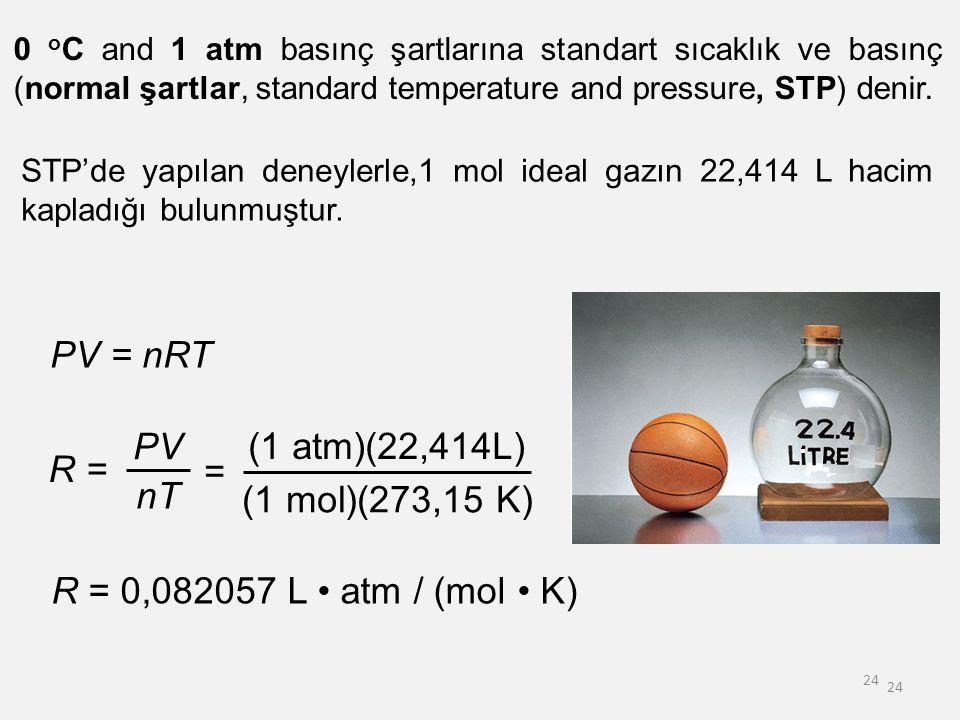 PV = nRT R = PV nT = (1 atm)(22,414L) (1 mol)(273,15 K)