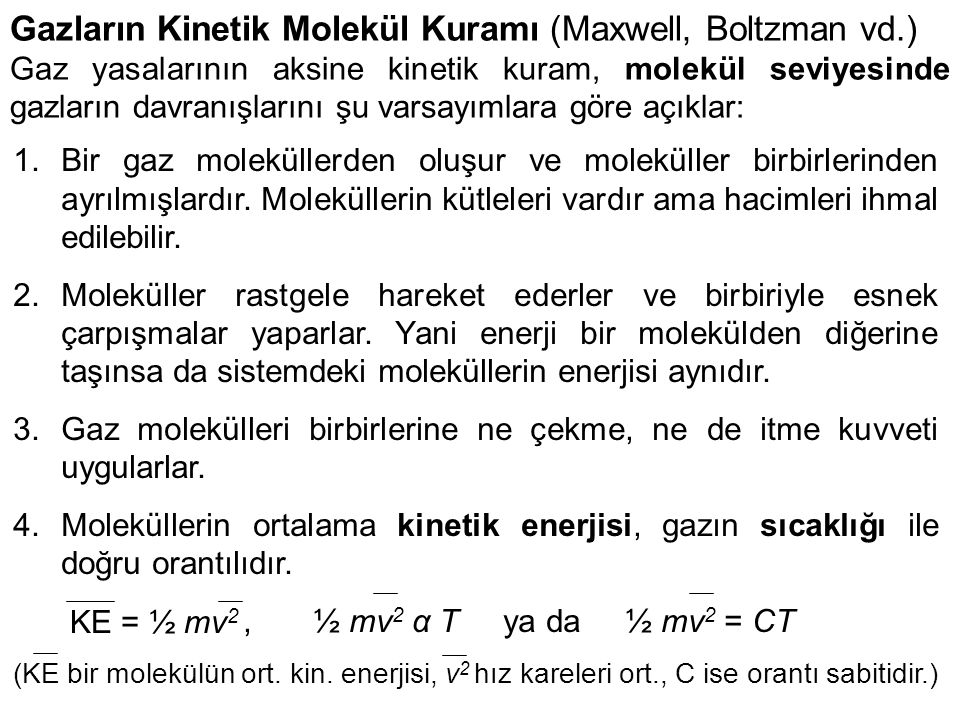 Gazların Kinetik Molekül Kuramı (Maxwell, Boltzman vd.)