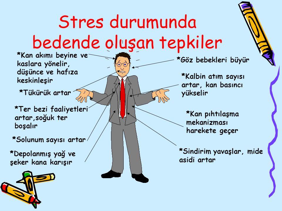 Stres durumunda bedende oluşan tepkiler