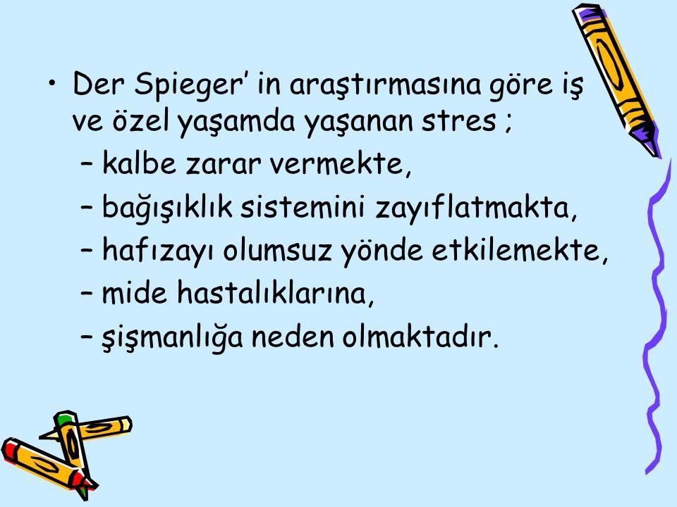 Der Spieger' in araştırmasına göre iş ve özel yaşamda yaşanan stres ;