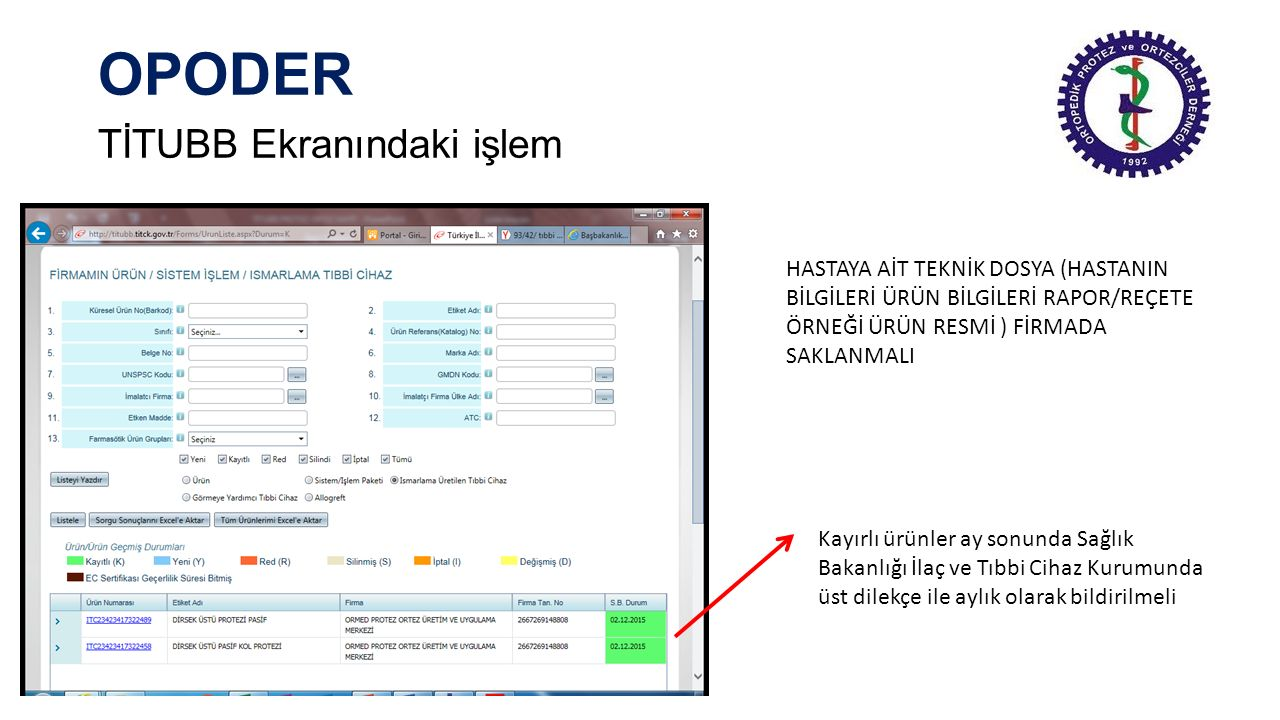 OPODER TİTUBB Ekranındaki işlem