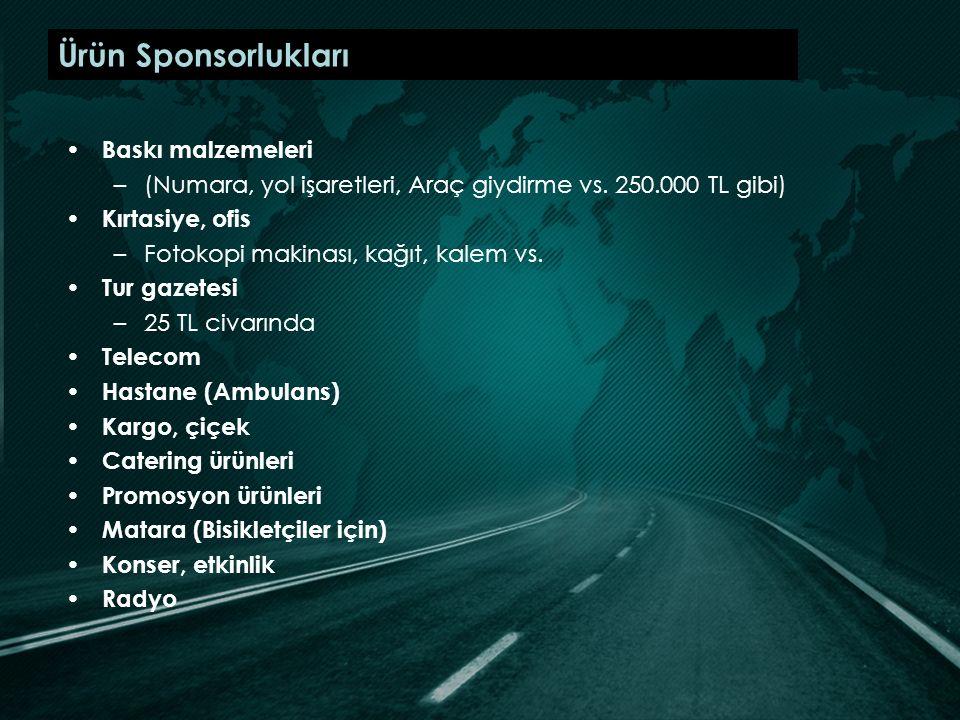 Ürün Sponsorlukları Baskı malzemeleri