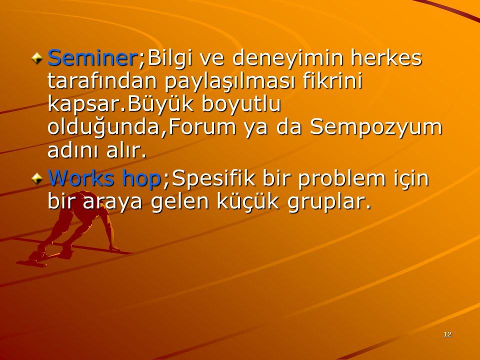 Seminer;Bilgi ve deneyimin herkes tarafından paylaşılması fikrini kapsar.Büyük boyutlu olduğunda,Forum ya da Sempozyum adını alır.