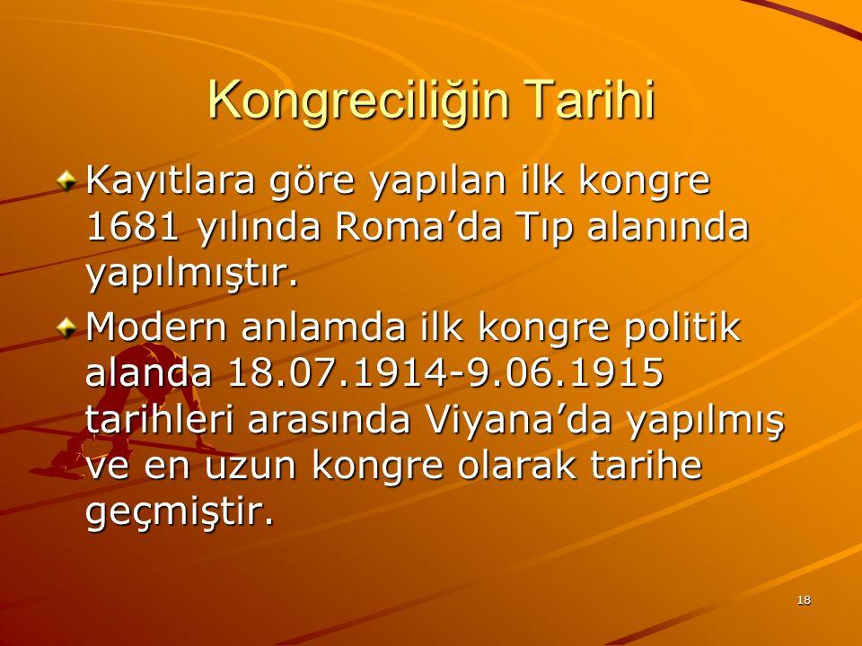 Kongreciliğin Tarihi Kayıtlara göre yapılan ilk kongre 1681 yılında Roma'da Tıp alanında yapılmıştır.