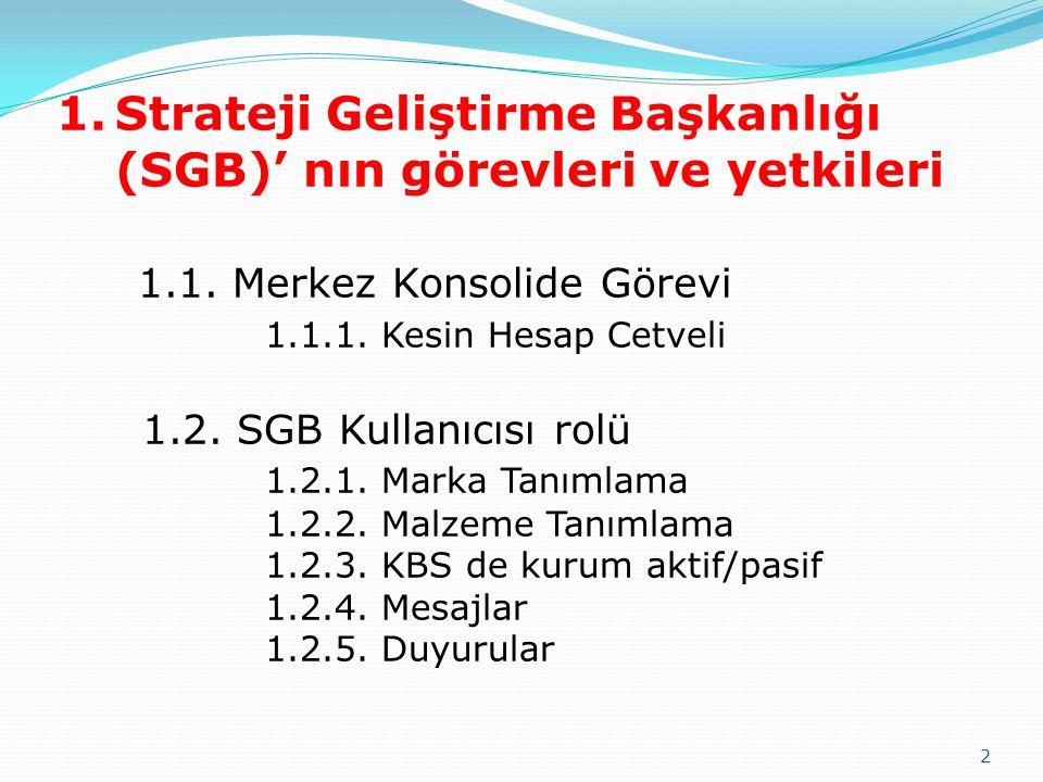 Strateji Geliştirme Başkanlığı (SGB)' nın görevleri ve yetkileri