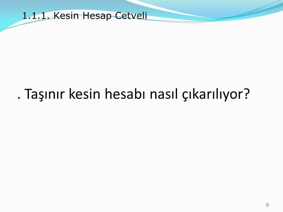 1.1.1. Kesin Hesap Cetveli