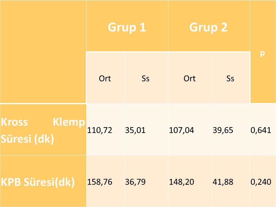 Grup 1 Grup 2 Kross Klemp Süresi (dk) KPB Süresi(dk) p Ort Ss 110,72