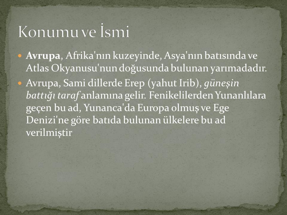 Konumu ve İsmi Avrupa, Afrika nın kuzeyinde, Asya nın batısında ve Atlas Okyanusu nun doğusunda bulunan yarımadadır.