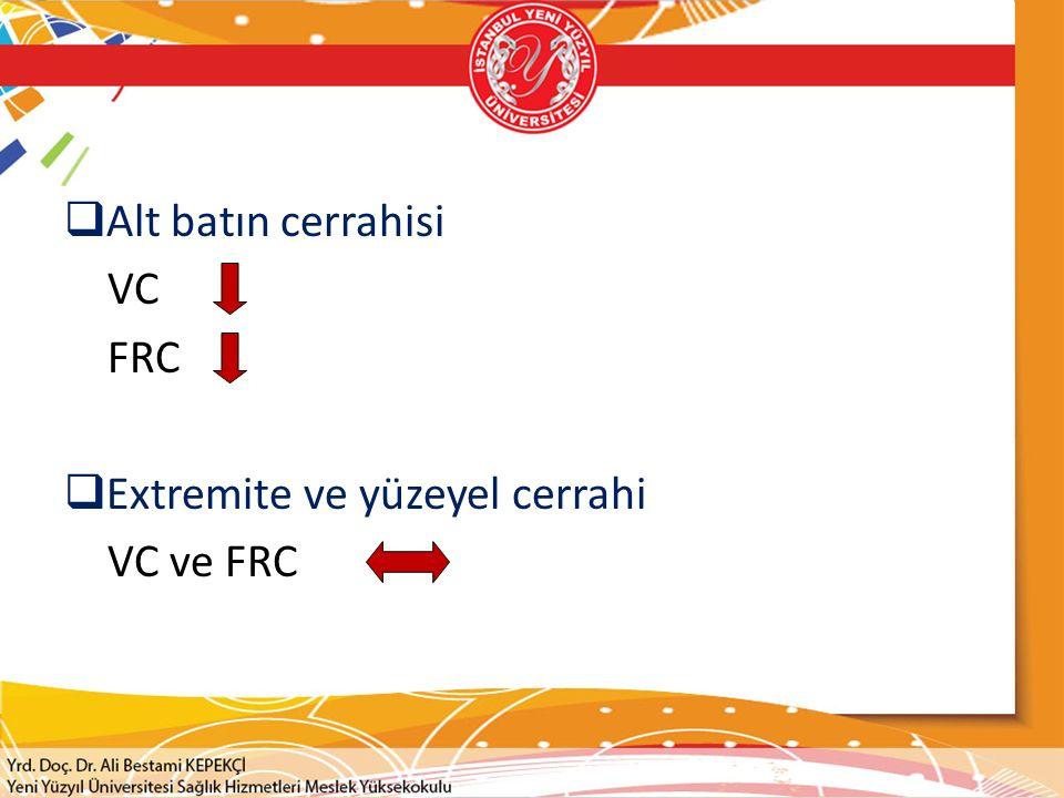 Alt batın cerrahisi VC FRC Extremite ve yüzeyel cerrahi VC ve FRC