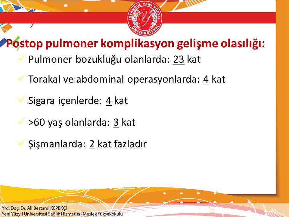 Postop pulmoner komplikasyon gelişme olasılığı:
