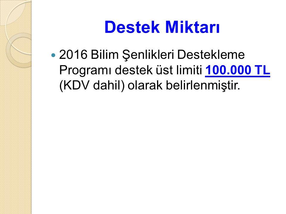 Destek Miktarı 2016 Bilim Şenlikleri Destekleme Programı destek üst limiti 100.000 TL (KDV dahil) olarak belirlenmiştir.