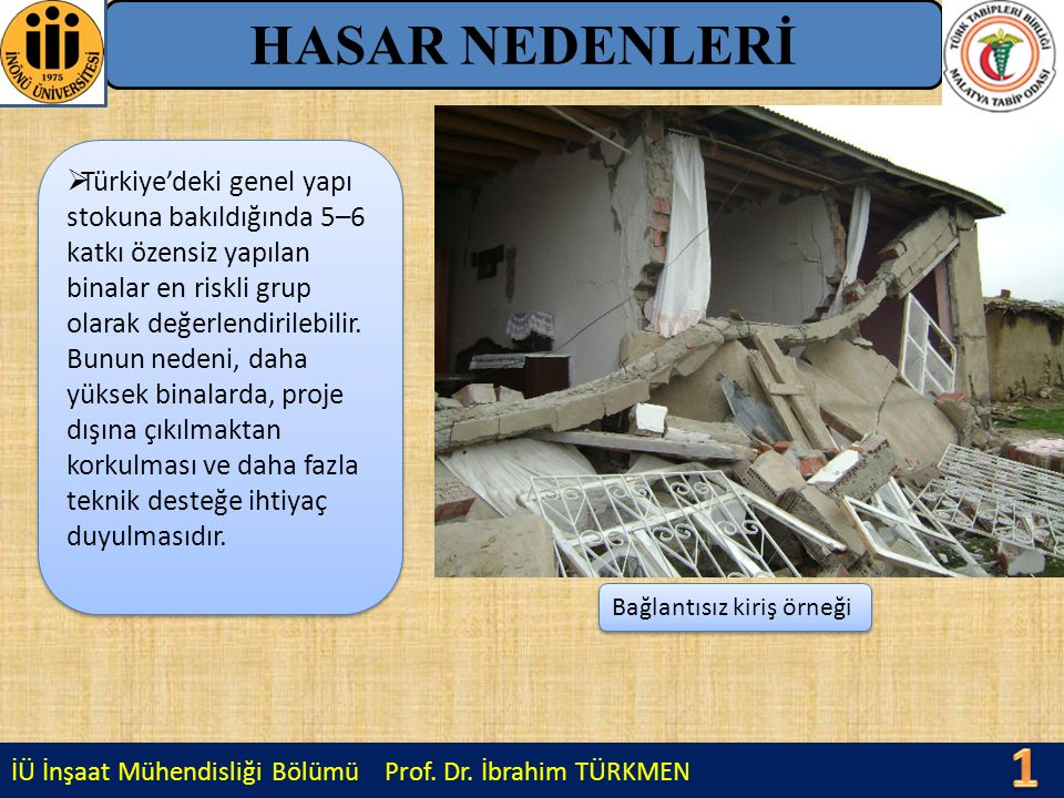 HASAR NEDENLERİ Türkiye'deki genel yapı stokuna bakıldığında 5–6 katkı özensiz yapılan binalar en riskli grup olarak değerlendirilebilir.