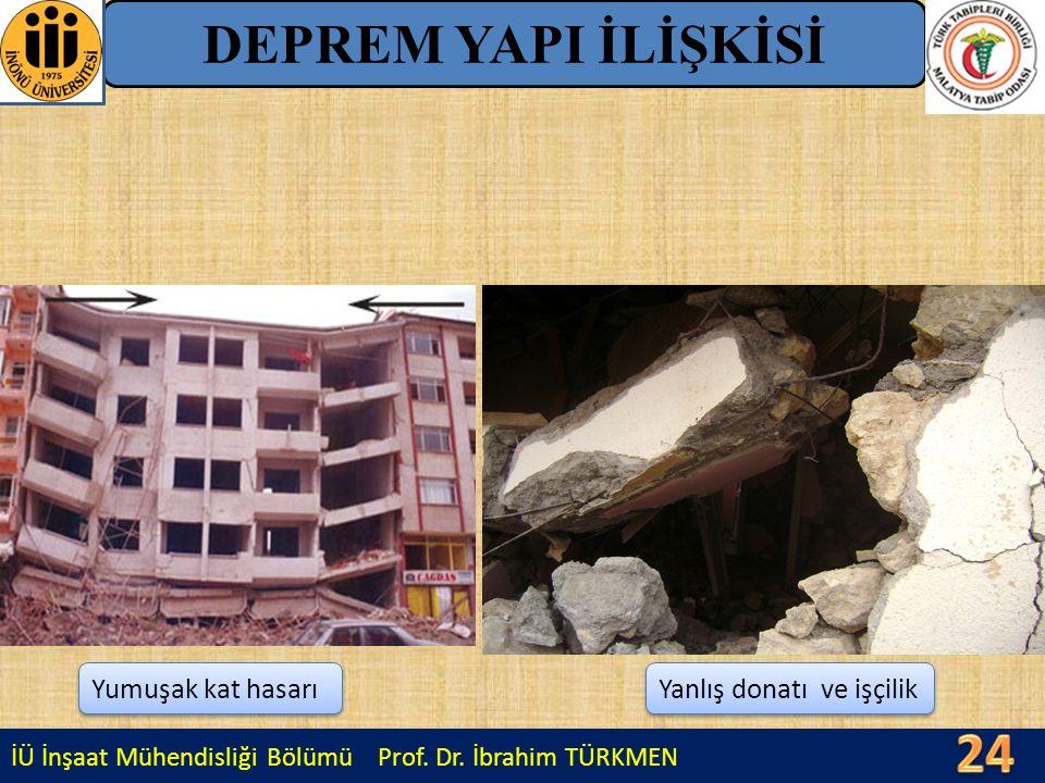 24 DEPREM YAPI İLİŞKİSİ Yumuşak kat hasarı Yanlış donatı ve işçilik