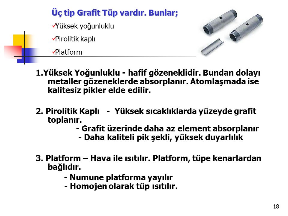Üç tip Grafit Tüp vardır. Bunlar;