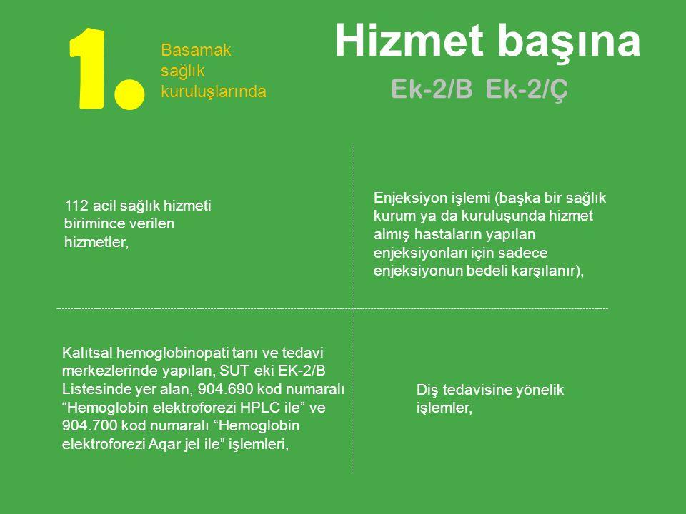 1. Hizmet başına Ek-2/B Ek-2/Ç Basamak sağlık kuruluşlarında