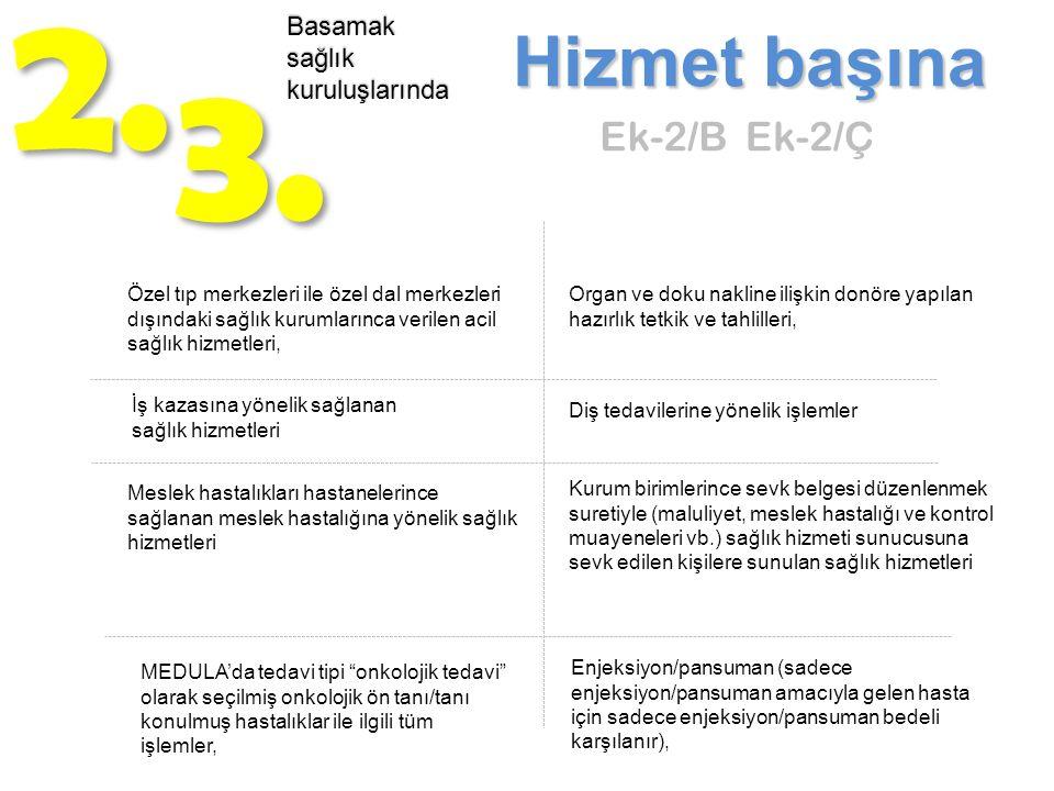 2. 3. Hizmet başına Ek-2/B Ek-2/Ç Basamak sağlık kuruluşlarında