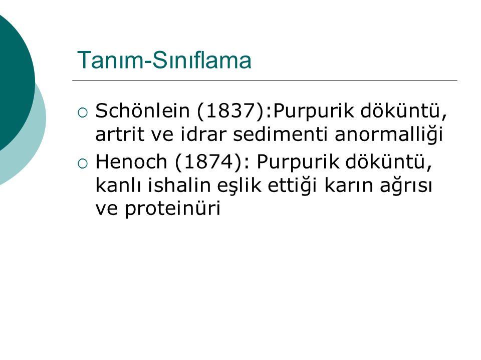 Tanım-Sınıflama Schönlein (1837):Purpurik döküntü, artrit ve idrar sedimenti anormalliği.