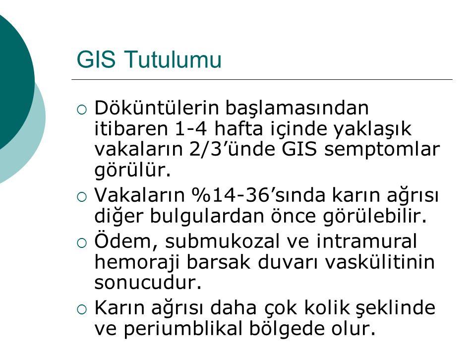 GIS Tutulumu Döküntülerin başlamasından itibaren 1-4 hafta içinde yaklaşık vakaların 2/3'ünde GIS semptomlar görülür.