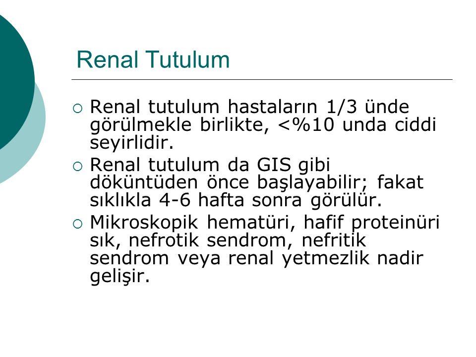 Renal Tutulum Renal tutulum hastaların 1/3 ünde görülmekle birlikte, <%10 unda ciddi seyirlidir.