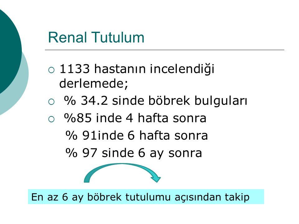 Renal Tutulum 1133 hastanın incelendiği derlemede;